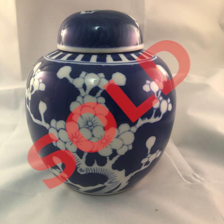 Vintage China Prunus Ginger Jar With Double Circle Mark