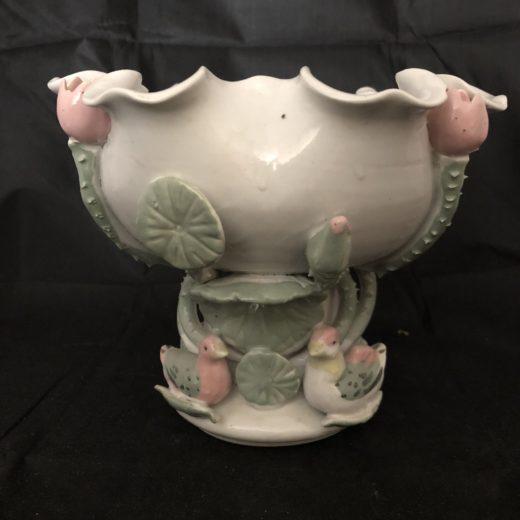 Vintage Old Chinese Hand Make Pastel Lotus Stem Bowl