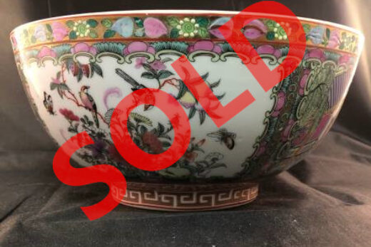 Large Vintage Chinese Export Canton Famille Rose Medallion Porcelain Bowl